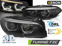 XENON HEADLIGHTS ANGEL EYES LED DRL BLACK SEQ fits BMW F10/F11 10-13