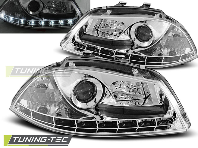 LED Tagfahrlicht Optik Scheinwerfer Set Seat Ibiza 6L 02-08 chrom