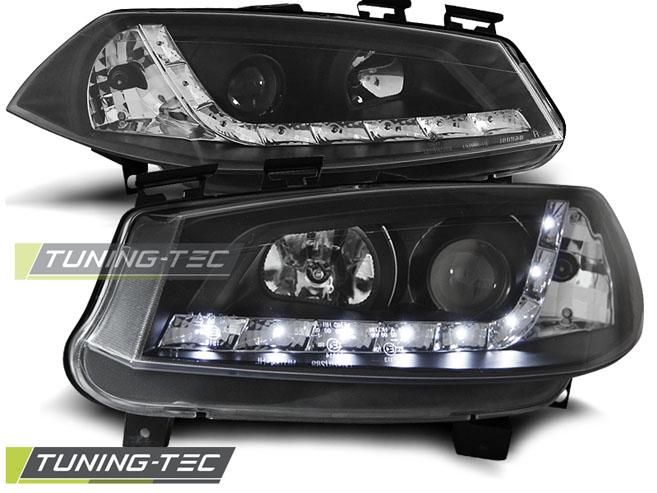 LED Tagfahrlicht Optik Scheinwerfer Set Renault Megane II 2 BM/CM 2002 - 2005 schwarz