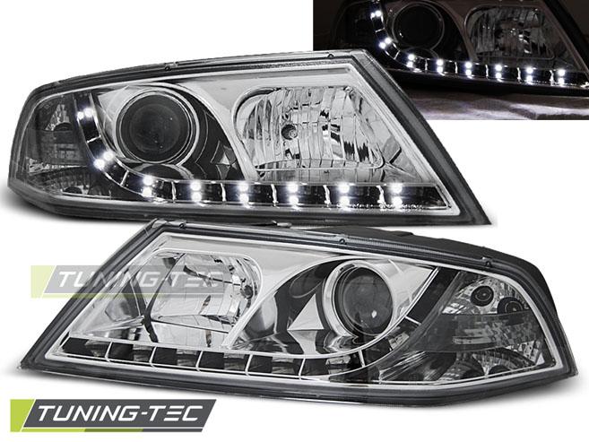 LED Tagfahrlicht Optik Scheinwerfer Set Skoda Octavia 1Z 04 - 08 chrom Halogen