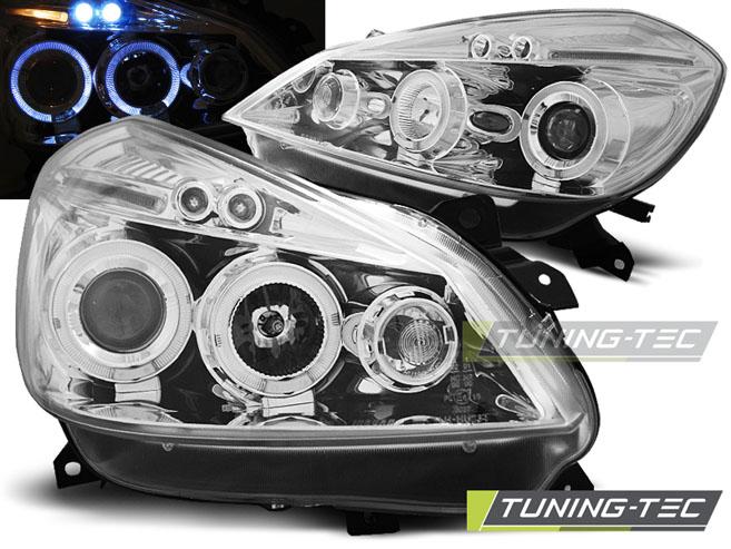 Klarglas Angel Eyes Scheinwerfer Set Renault Clio III 3 2005 - 2009 schwarz