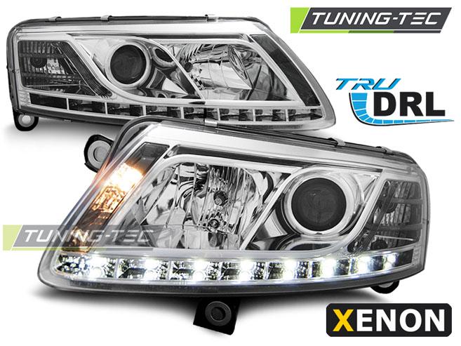 LED Tagfahrlicht Scheinwerfer Set Audi A6 4F C6 2004 - 2008 Xenon chrom R87 DRL