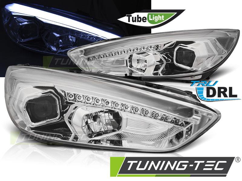 LED Tagfahrlicht R87 Scheinwerfer Set chrom Ford Focus MK3 Facelift 14 +