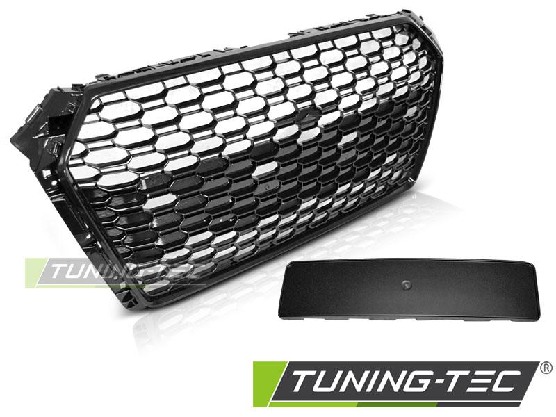 Kühlergrill Frontgrill Wabengrill für Audi A4 B9 15 - RS4-Look Schwarz glänzend